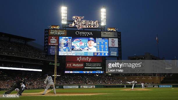 Anibal Sanchez of the Detroit Tigers pitches with a no hitter going to Justin Smoak of the Toronto Blue Jays in the eight inning on July 3 2015 at...