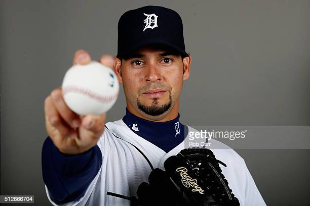 Anibal Sanchez of the Detroit Tigers poses during photo day at Joker Marchant Stadium on February 27 2016 in Lakeland Florida