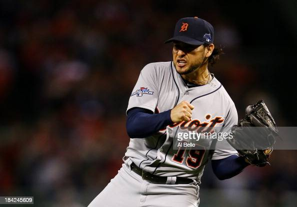 Anibal Sanchez of the Detroit Tigers reacts after a strikeout in the sixth inning against the Boston Red Sox during Game One of the American League...