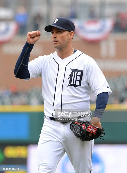 Anibal Sanchez of the Detroit Tigers reacts after getting the final out of an inning during the game against the Minnesota Twins at Comerica Park on...