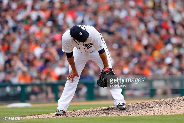 Anibal Sanchez of the Detroit Tigers reacts after giving up a three run home run to Preston Tucker of the Houston Astros during the sixth inning of...