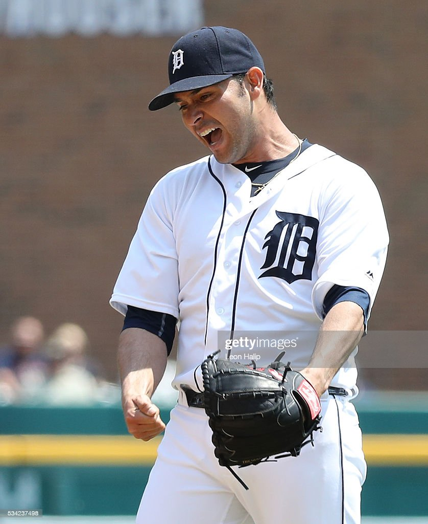 <a gi-track='captionPersonalityLinkClicked' href=/galleries/search?phrase=Anibal+Sanchez&family=editorial&specificpeople=748372 ng-click='$event.stopPropagation()'>Anibal Sanchez</a> #19 of the Detroit Tigers reacts after giving up a three run homer to Odubel Herrera to the Philadelphia Phillies (not in photo) during the fourth inning of the inter-league game on May 25, 2016 at Comerica Park in Detroit, Michigan.