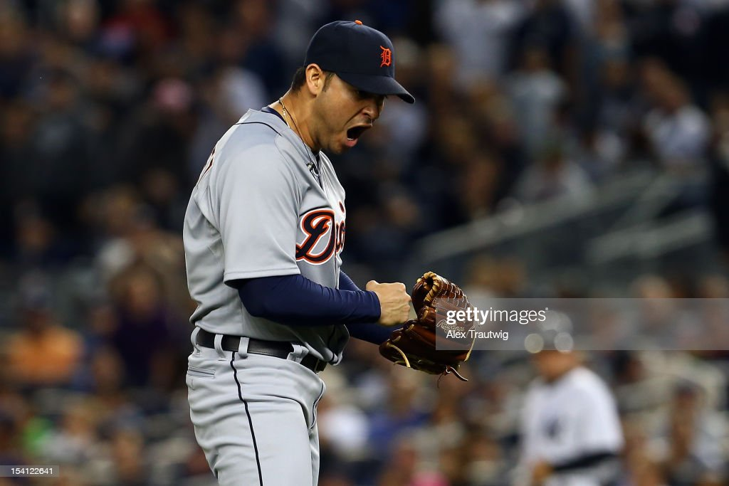 <a gi-track='captionPersonalityLinkClicked' href=/galleries/search?phrase=Anibal+Sanchez&family=editorial&specificpeople=748372 ng-click='$event.stopPropagation()'>Anibal Sanchez</a> #19 of the Detroit Tigers reacts after he struck out Jayson Nix #17 of the New York Yankees to end the bottom of the seventh inning during Game Two of the American League Championship Series at Yankee Stadium on October 14, 2012 in the Bronx borough of New York City.