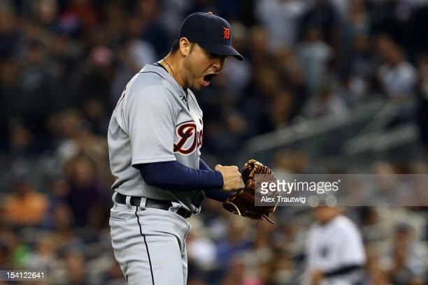 Anibal Sanchez of the Detroit Tigers reacts after he struck out Jayson Nix of the New York Yankees to end the bottom of the seventh inning during...
