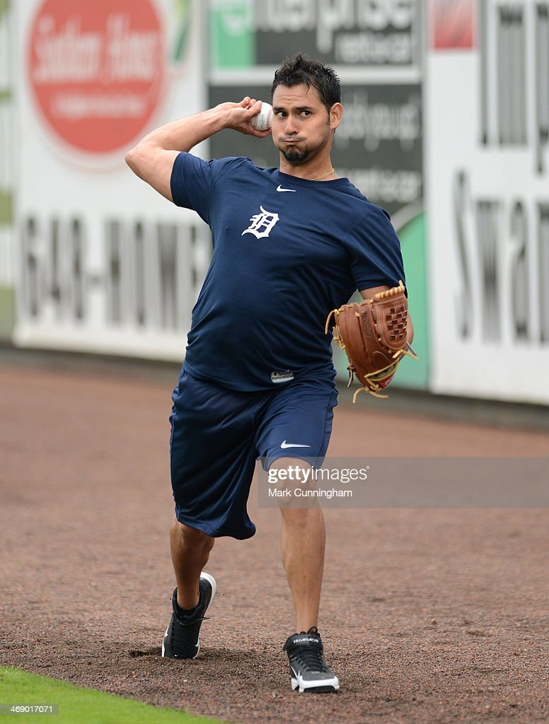 Anibal Sanchez of the Detroit Tigers throws a baseball during the Tigers Workout Day at Joker Marchant Stadium on February 12 2014 in Lakeland Florida