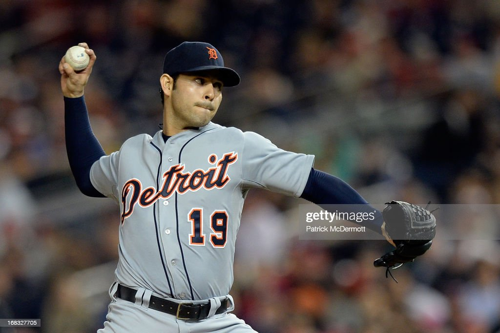 <a gi-track='captionPersonalityLinkClicked' href=/galleries/search?phrase=Anibal+Sanchez&family=editorial&specificpeople=748372 ng-click='$event.stopPropagation()'>Anibal Sanchez</a> #19 of the Detroit Tigers throws a pitch against the Washington Nationals in the second inning during a game at Nationals Park on May 8, 2013 in Washington, DC.