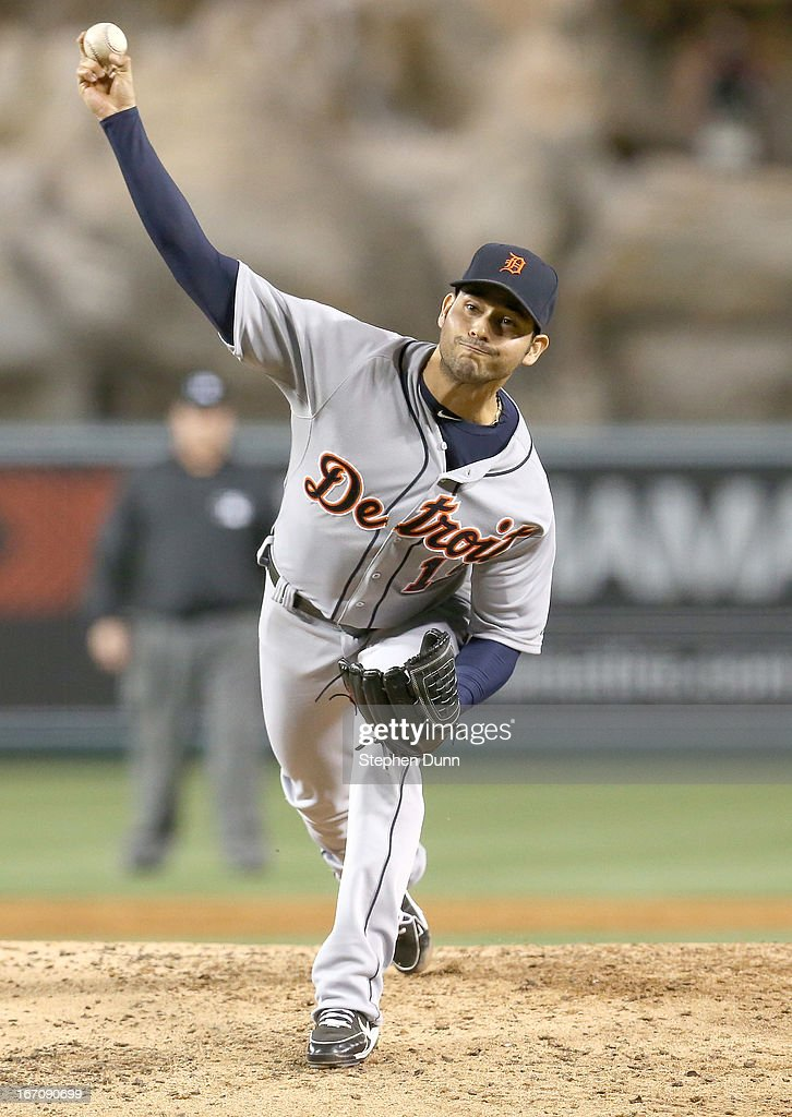 <a gi-track='captionPersonalityLinkClicked' href=/galleries/search?phrase=Anibal+Sanchez&family=editorial&specificpeople=748372 ng-click='$event.stopPropagation()'>Anibal Sanchez</a> #19 of the Detroit Tigers throws a pitch against the Los Angeles Angels of Anaheim at Angel Stadium of Anaheim on April 19, 2013 in Anaheim, California.
