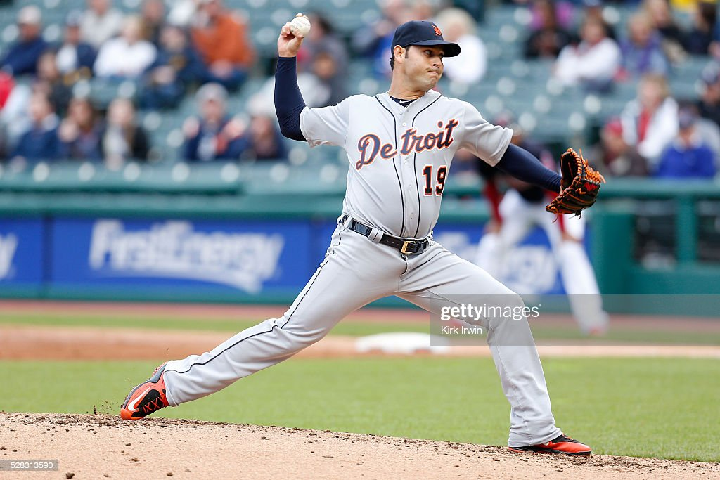Anibal Sanchez of the Detroit Tigers throws a pitch during the second inning of the game against the Cleveland Indians at Progressive Field on May 4...