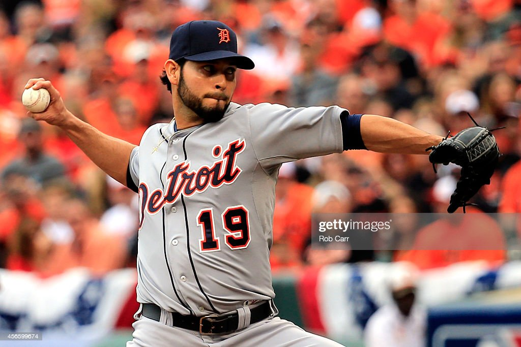 Anibal Sanchez of the Detroit Tigers throws a pitch in the sixth inning against the Baltimore Orioles during Game Two of the American League Division...