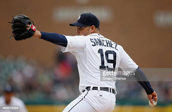 Anibal Sanchez of the Detroit Tigers throws a second inning pitch while playing the Minnesota Twins at Comerica Park on April 8 2015 in Detroit...