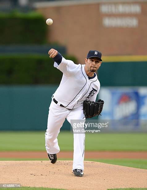 Anibal Sanchez of the Detroit Tigers throws a warmup pitch during the game against the Milwaukee Brewers at Comerica Park on May 19 2015 in Detroit...