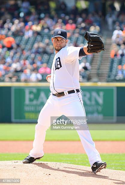Anibal Sanchez of the Detroit Tigers throws a warmup pitch prior to the start of the game against the Minnesota Twins at Comerica Park on May 14 2015...