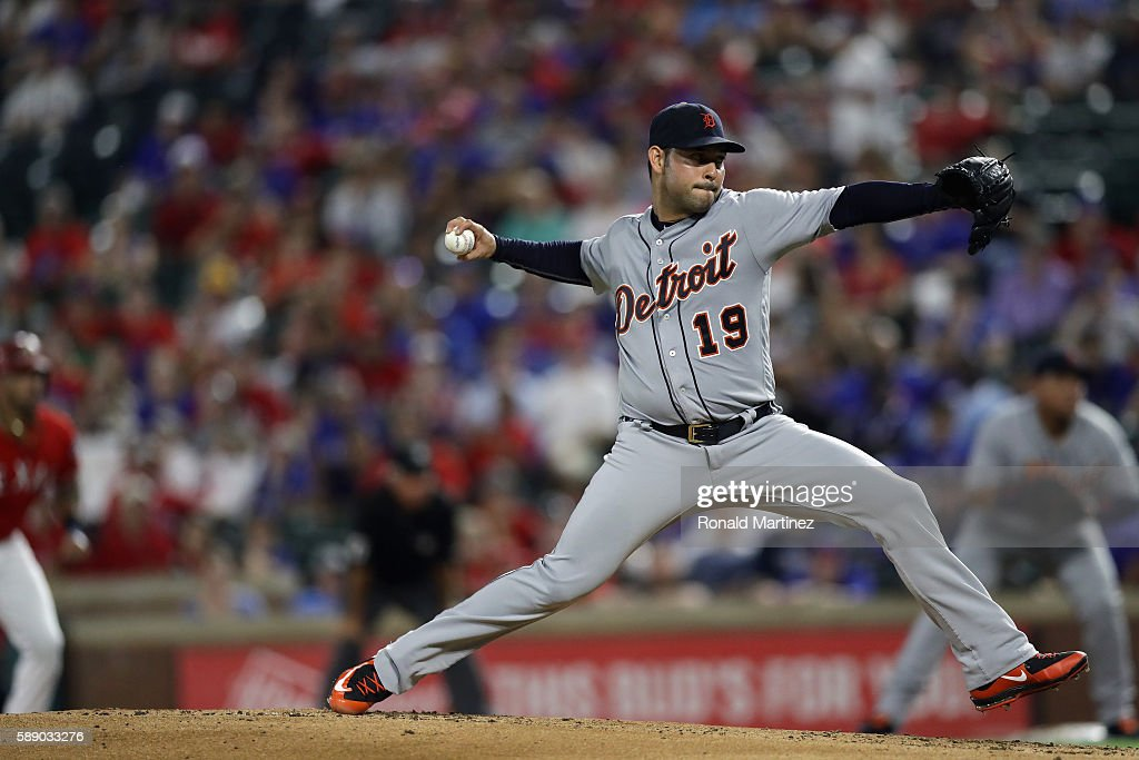 Anibal Sanchez of the Detroit Tigers throws against the Texas Rangers in the first inning at Globe Life Park in Arlington on August 12 2016 in...