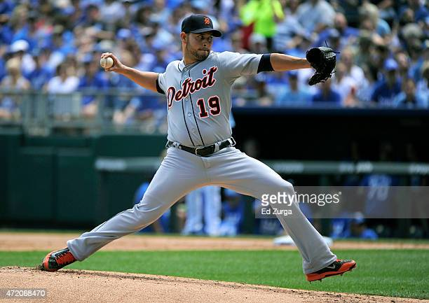 Anibal Sanchez of the Detroit Tigers throws in the first inning against the Kansas City Royals on May 3 2015 at Kauffman Stadium in Kansas City...