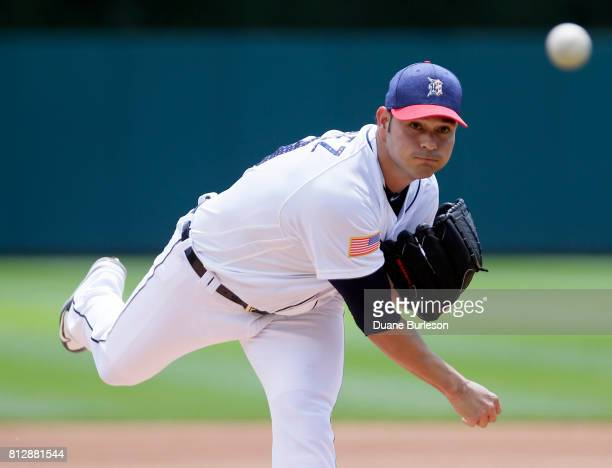 Anibal Sanchez of the Detroit Tigers tosses a warmup pitch before game one of a doubleheader against the Cleveland Indians at Comerica Park on July 1...