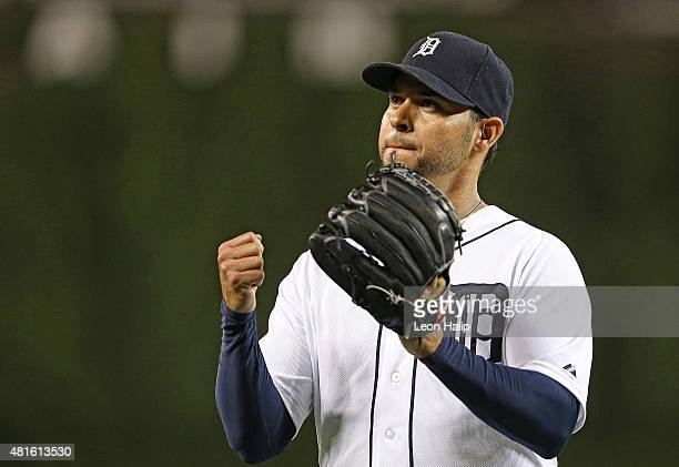 Anibal Sanchez of the Detroit Tigers walks to the dugout after being removed from the game during the seventh inning of the game against the Seattle...