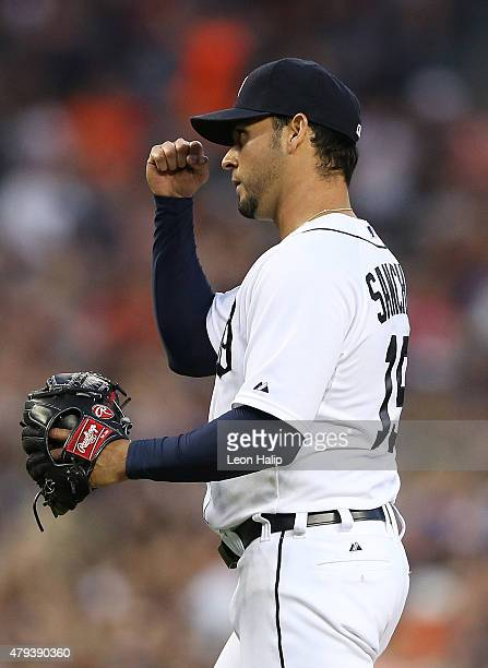 Anibal Sanchez of the Detroit Tigers walks to the dugout after the end of the seventh inning of the game against the Toronto Blue Jays on July 3 2015...
