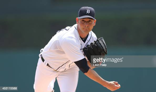 Anibal Sanchez of the Detroit Tigers warms up prior to the start of the game against the Colorado Rockies at Comerica Park on August 3 2014 in...