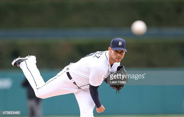 Anibal Sanchez of the Detroit Tigers warms up prior to the start of the game against the New York Yankees on April 23 2015 at Comerica Park in...