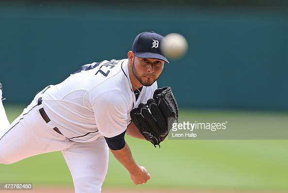 Anibal Sanchez of the Detroit Tigers warms up prior to the start of the game against the Kansas City Royals on May 9 2015 at Comerica Park in Detroit...