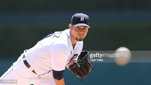 Anibal Sanchez of the Detroit Tigers warms up prior to the start of the game against the Minnesota Twins on May 14 2015 at Comerica Park in Detroit...