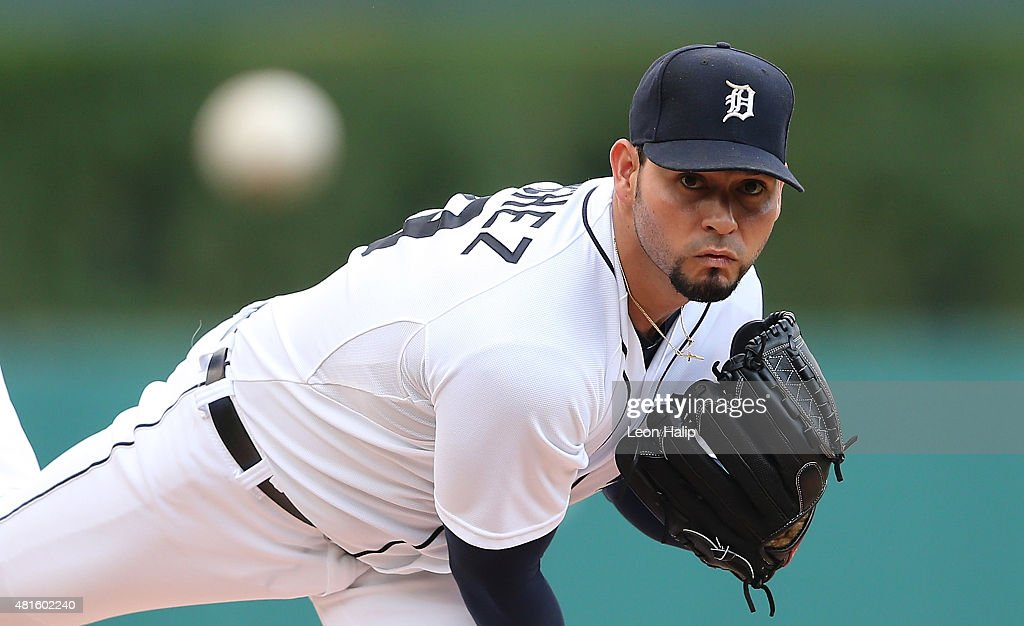 Anibal Sanchez of the Detroit Tigers warms up prior to the start of the game against the Seattle Mariners on July 22 2015 at Comerica Park in Detroit...