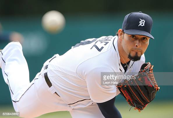 Anibal Sanchez of the Detroit Tigers warms up prior to the start of the interleague game against the Pittsburgh Pirates on April 12 2016 at Comerica...