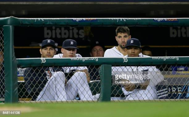 Anibal Sanchez of the Detroit Tigers watches from the dugout with JaCoby Jones of the Detroit Tigers Nicholas Castellanos of the Detroit Tigers and...