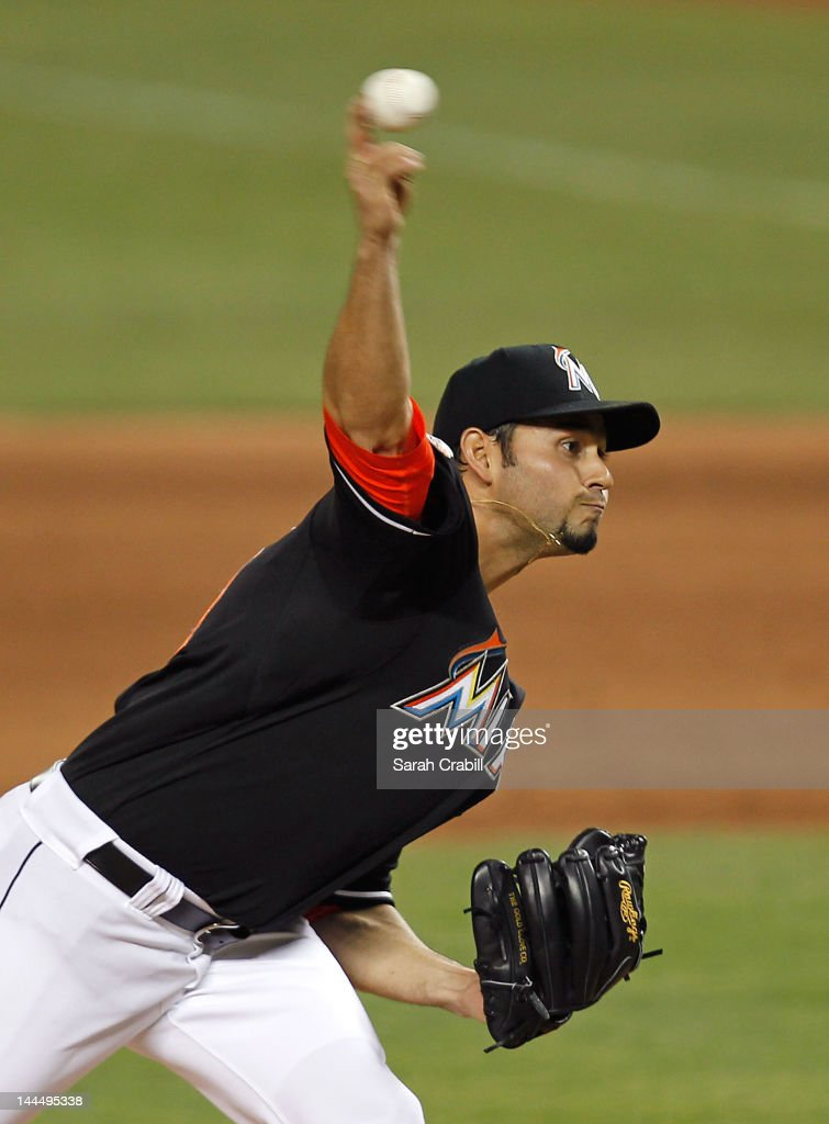 <a gi-track='captionPersonalityLinkClicked' href=/galleries/search?phrase=Anibal+Sanchez&family=editorial&specificpeople=748372 ng-click='$event.stopPropagation()'>Anibal Sanchez</a> #19 of the Miami Marlins pitches during a game against the Pittsburgh Pirates at Marlins Park on May 14, 2012 in Miami, Florida. The Pirates defeated the Marlins 3-2.