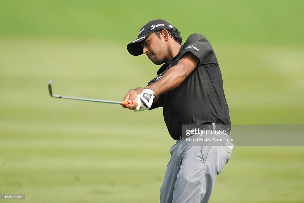 Aniban Lahiri of India in action during round four of the Thailand Golf Championship at Amata Spring Country Club on December 9, 2012 in Bangkok, Thailand.