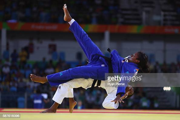 Anicka van Emden of the Netherlands and Clarisse Agbegnenou of France compete during the Women's 63kg Quarterfinal bout on Day 4 of the Rio 2016...