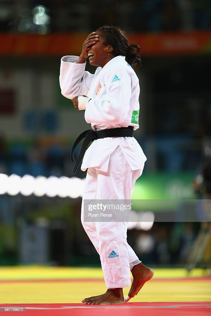 Anicka van Emden of the Netherlands celebrates victory over Mariana Silva of Brazil in the Women's 63kg bronze medal b bout on Day 4 of the Rio 2016...