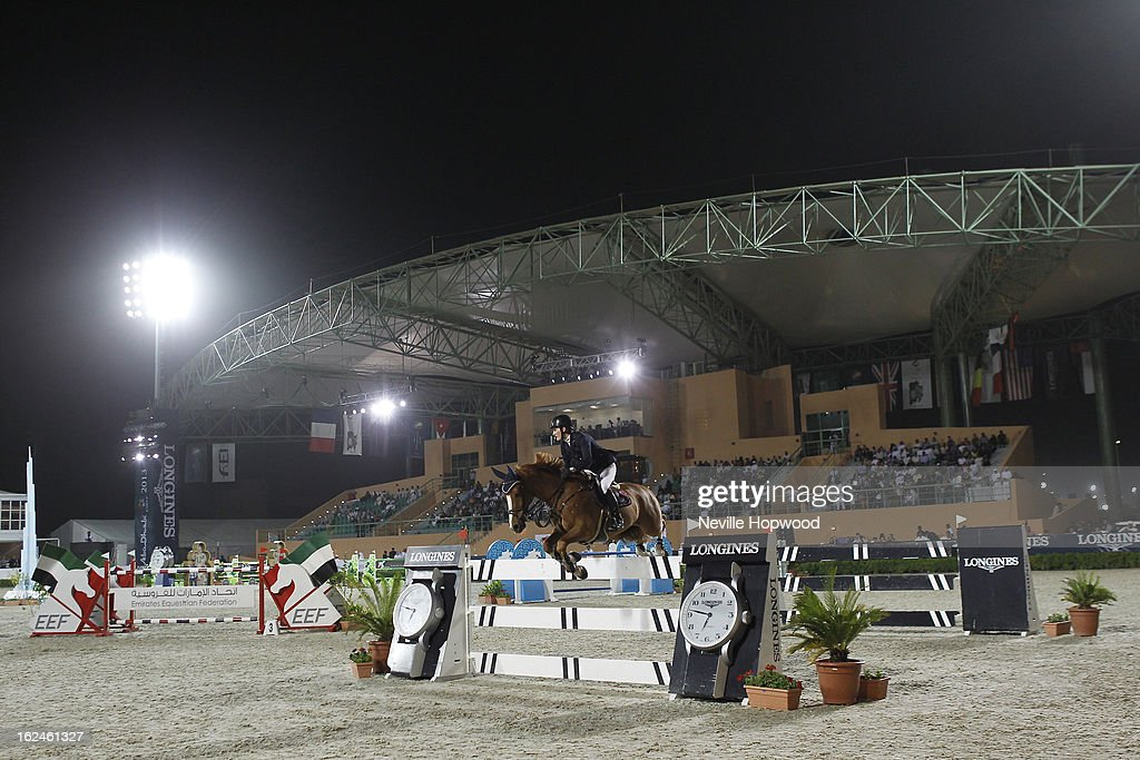 Aniek Poels of the Netherlands rides Baggio during the President of the UAE Showjumping Cup - Furusiyyah Nations Cup Series presented by Longines on February 23, 2013 in Al Ain, United Arab Emirates.