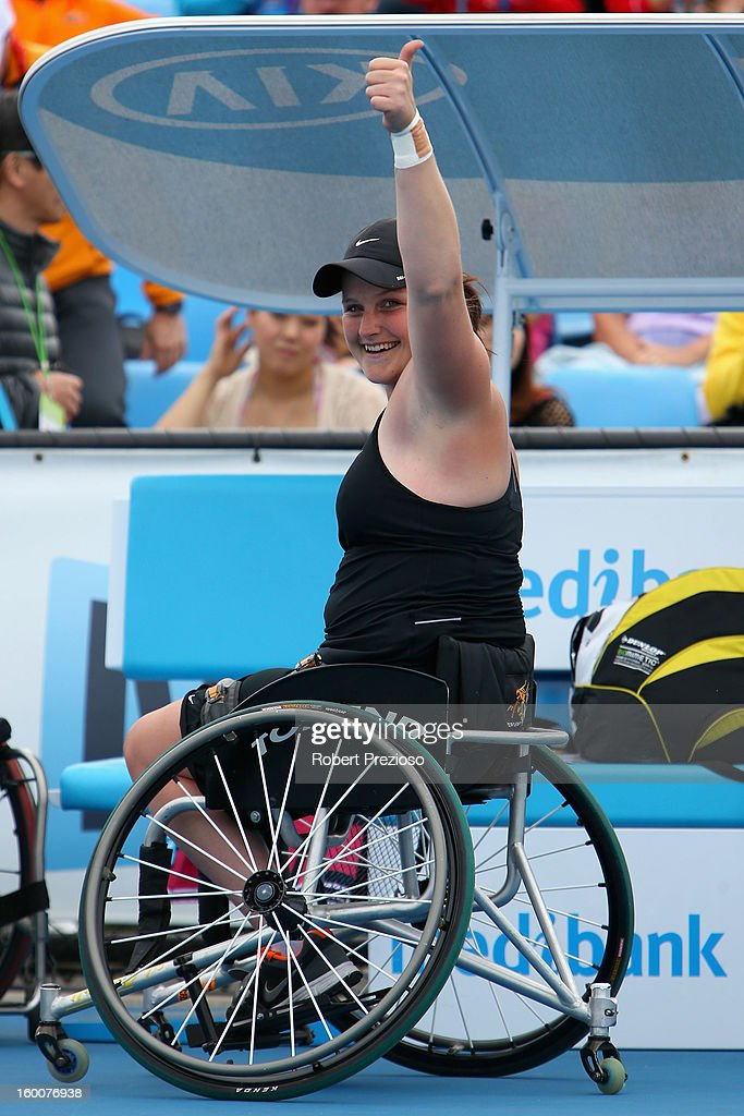 Aniek Van Koot of the Netherlands celebrates championship point in her Women's Wheelchair Singles Final match against Sabine Ellerbrock of Germany during the 2013 Australian Open Wheelchair Championships at Melbourne Park on January 26, 2013 in Melbourne, Australia.