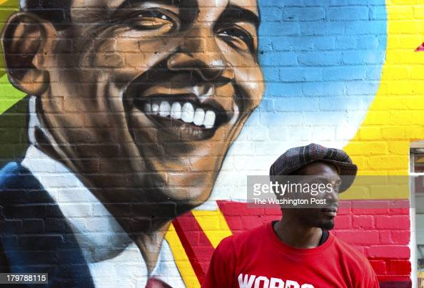 Obama cosby stock photos and pictures getty images for Chuck brown mural