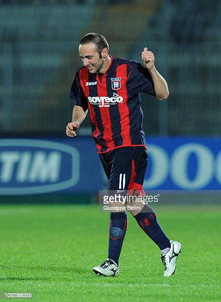 Aniello Cutolo of Crotone celebrates after scoring the 21 goal during the Serie B match between Ascoli Calcio and FC Crotone at Stadio Cino e Lillo...