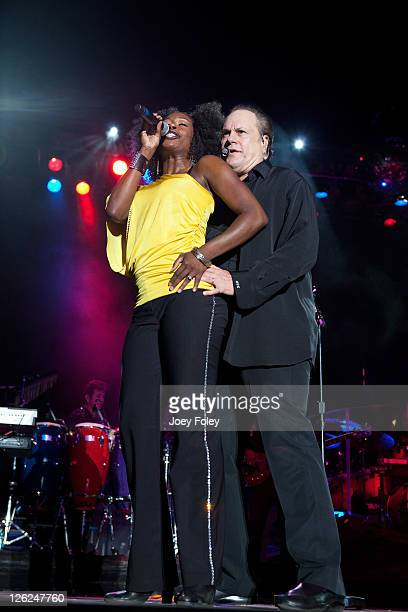 Anika Ellis and Harry Wayne 'KC' Casey of KC and the Sunshine Band performs onstage during the 16th Annual Rib America Festival Day 3 at Military...