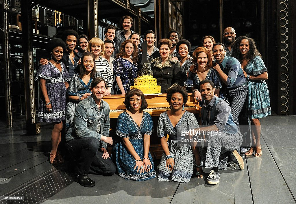 Anika Larsen Jarrod Spector Jessie Mueller and Scott J Campbell with the cast of 'Beautiful The Carole King Musical' Celebrate 1 Year On Broadway at...