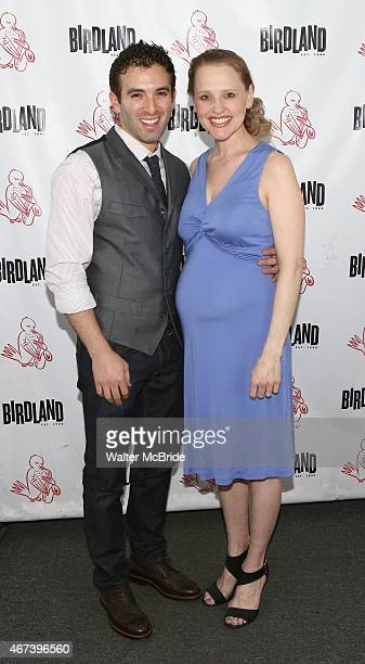 Anika Larsen with Jarrod Spector backstage before she performs her new CD launch concert 'Sing You to Sleep' at Birdland on March 23 2015 in New York...