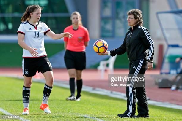 Anika Metzner and Ulrike Ballweg of Germany U16 Girls during the match between U16 Girls Germanyl v U16 Girls France on the UEFA International...