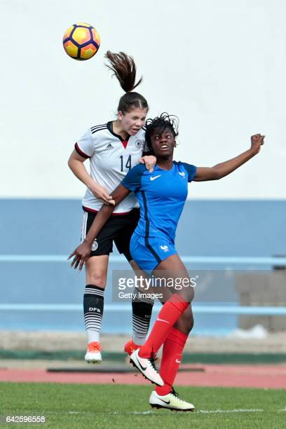 Anika Metzner of Germany U16 Girls challenges Naomie Feller of France U16 Girls during the match between U16 Girls Germanyl v U16 Girls France on the...