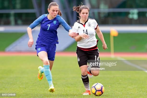 Anika Metzner of Germany U16 Girls challenges Romee Leuchter of Netherlands U16 Girls during the match between U16 Girls Germany v U16 Girls...