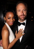 Anika Noni Rose and John Benjamin Hickey attend 'The Normal Heart' After Party for The 2011 Tony Awards at the Amsterdam Ale House on June 12 2011 in...