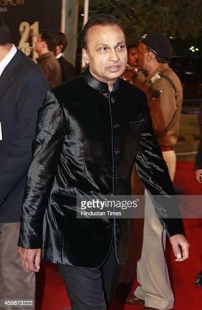 Anil Ambani chairman of Anil Dhirubhai Ambani Group on red carpet during the function to celebrate 21 years of popular TV show 'Aap ki Adalat' hosted...