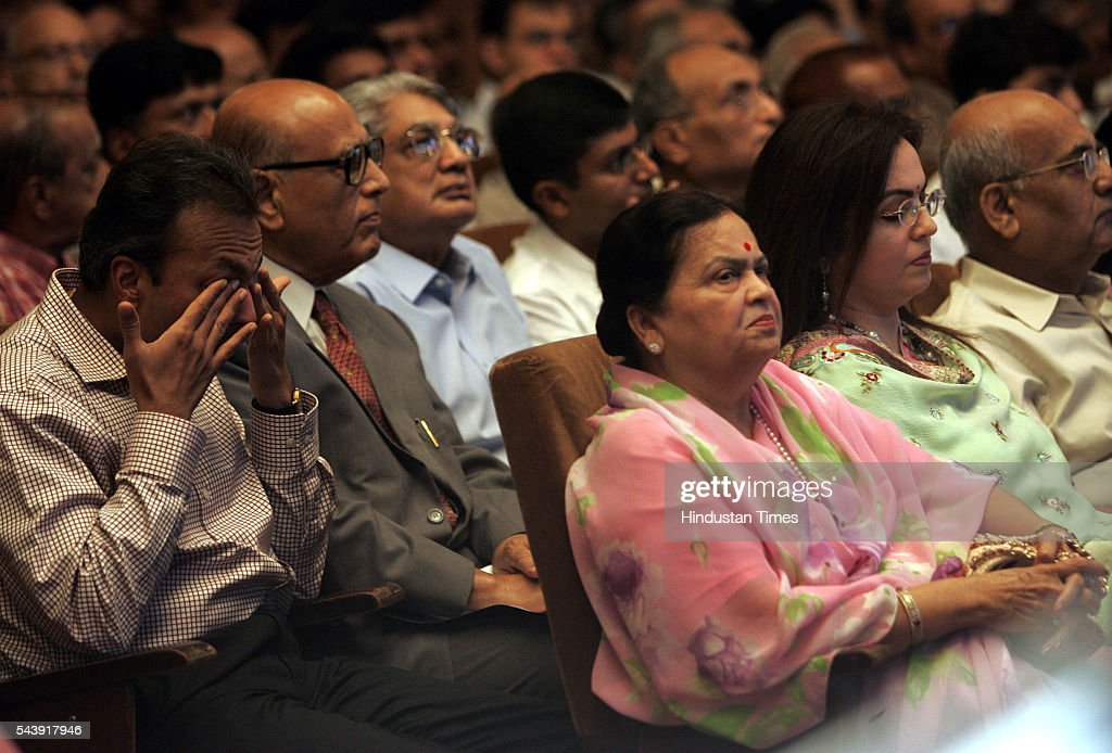 Anil Ambani, younger brother of Mukesh Ambani, Chairman, Reliance Industries Ltd. wiping his tears during company's annual general meeting at Birla Matoshri Auditorium.