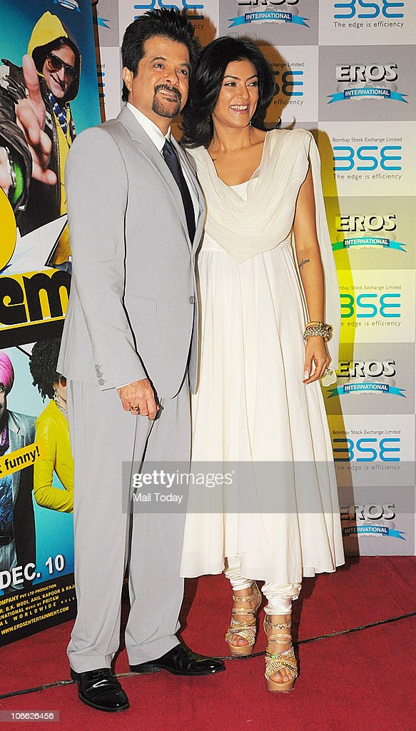 Anil Kapoor and Sushmita Sen during an event at the Bombay Stock Exchange to start the Diwali Muhurat Trading in Mumbai on November 5 2010