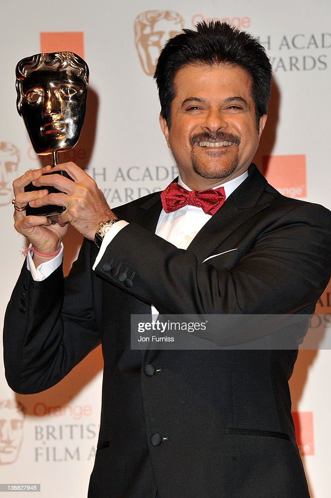 <a gi-track='captionPersonalityLinkClicked' href=/galleries/search?phrase=Anil+Kapoor&family=editorial&specificpeople=563857 ng-click='$event.stopPropagation()'>Anil Kapoor</a> poses in the press room with the Film Not in The English Language award for 'The Skin I Live In' on behalf of Pedro Almodovar during the Orange British Academy Film Awards 2012 at the Royal Opera House on February 12, 2012 in London, England.
