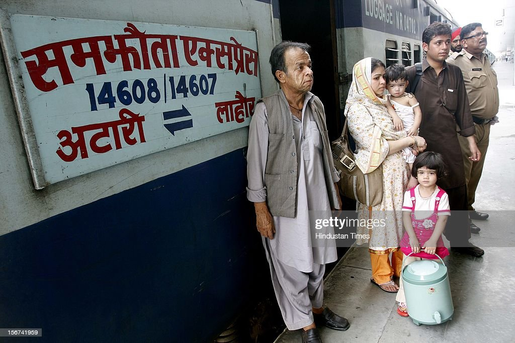 'ATTARI, INDIA - AUGUST 16: Anil Kumar Pakistani Hindu along with his family at Attari Railway Station after reaching in India through Samjautha Express on August 16, 2012 in Attari, India. (Photo by Munish Byala/Hindustan Times via Getty Images)'