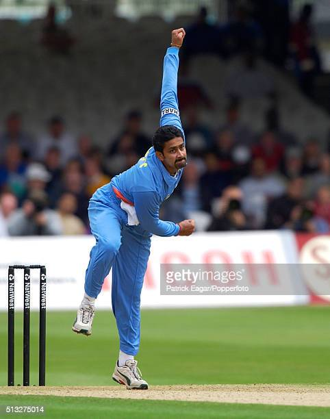 Anil Kumble bowling for India during the NatWest One Day International between England and India at Lord's London 29th June 2002 India won by six...
