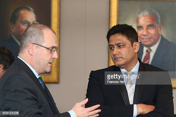 Anil Kumble ICC Cricket Committee Chairman attends the ICC board meeting at the ICC headquarters on April 22 2016 in Dubai United Arab Emirates